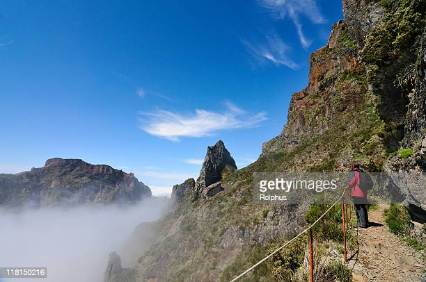hiking in madeira pico das torres noon time - sonnig stock pictures, royalty-free photos & images