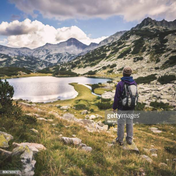 hiking in mountains and enjoying a view from above - pirin national park stock pictures, royalty-free photos & images