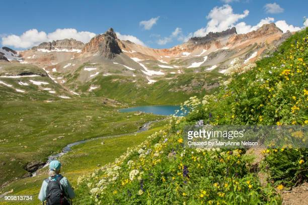 hiking in mountains to ice lake - san juan mountains stock photos and pictures