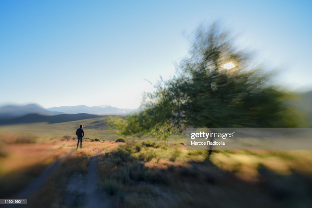 Hiking in pampas steppe, Patagonia : Stock Photo