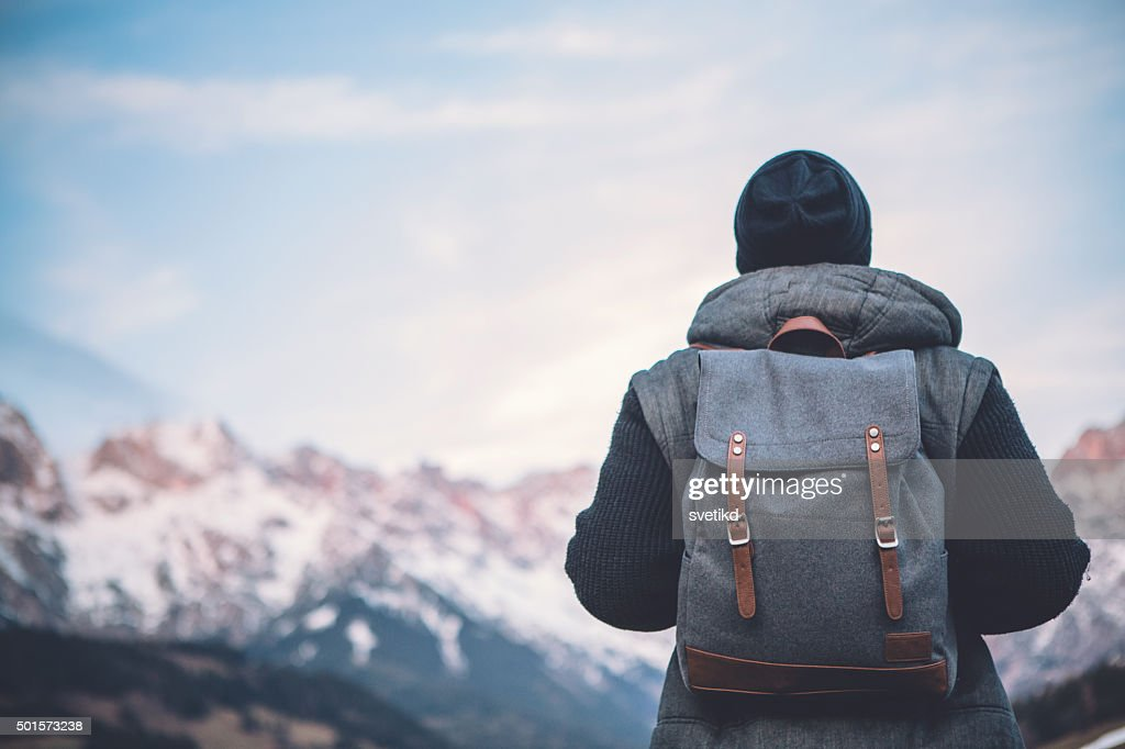 Hiking in solitude : Stock Photo