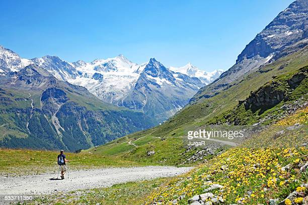 hiking in swiss mountains in summer - swiss alps stock pictures, royalty-free photos & images