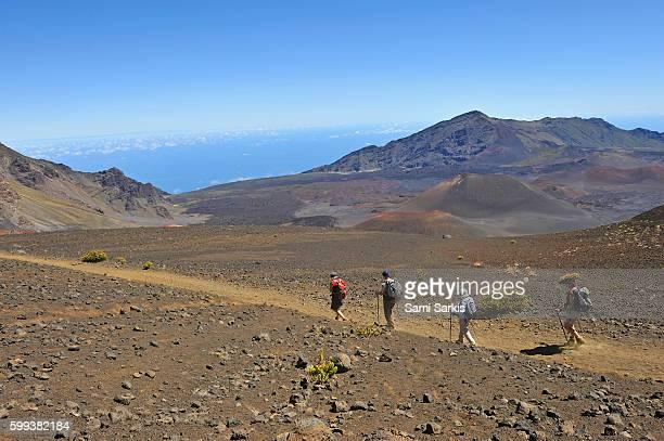 Hiking in the Haleakala crater, Maui Island, Hawaii Islands, USA