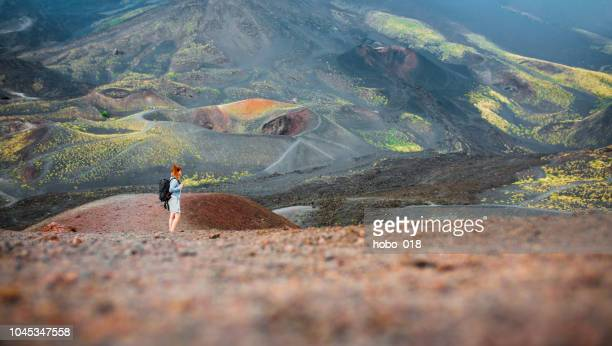hiking in the mountains - mt etna stock pictures, royalty-free photos & images