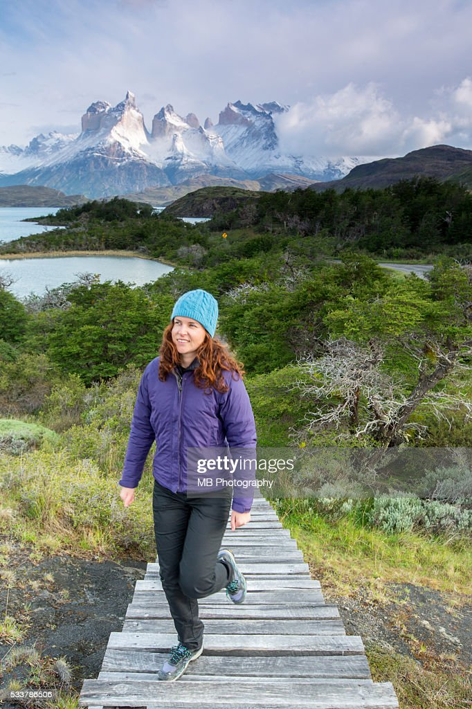 Hiking in Torres Del Paine : Foto stock