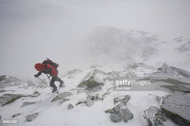 Hiking in winter on Mt. Washington in the White Mountains of New Hampshire.