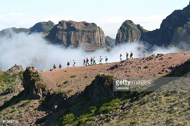 hiking into the clouds! pico ruivo madeira - lareira stock pictures, royalty-free photos & images