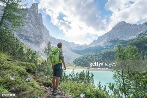 hiking man contemplating alpine lake in italy - pine woodland stock pictures, royalty-free photos & images