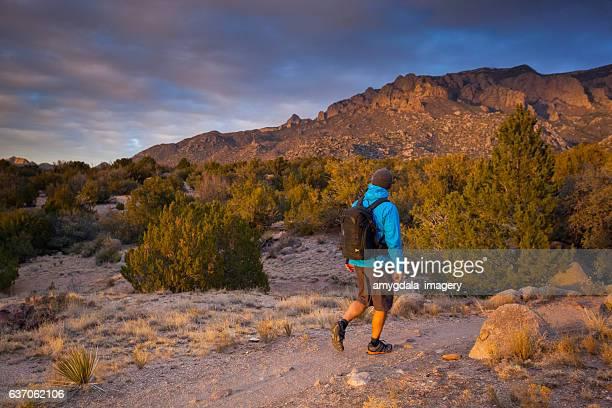 hiking man sunset nature