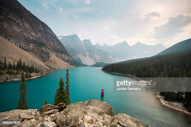 Hiking near Moraine Lake.