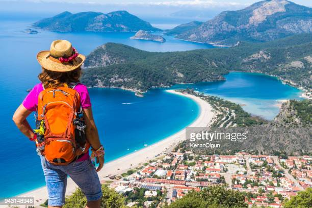 hiking on ancient lycian way. - mugla province stock pictures, royalty-free photos & images