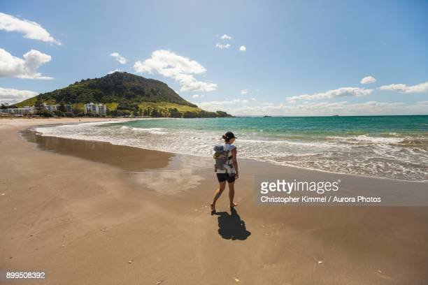 hiking on liesure island, new zealand. - mount maunganui stock pictures, royalty-free photos & images