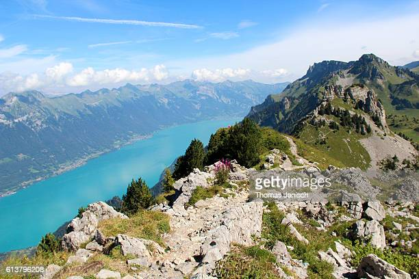 Hiking on Schynige Platte with view on lake Brienz