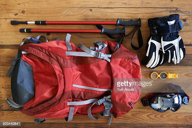 hiking paraphernalia - essentials collection stock pictures, royalty-free photos & images