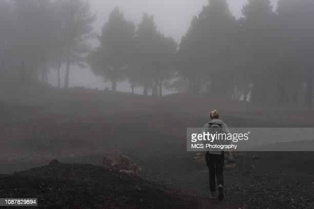 Hiking path on Gran Canaria in fog