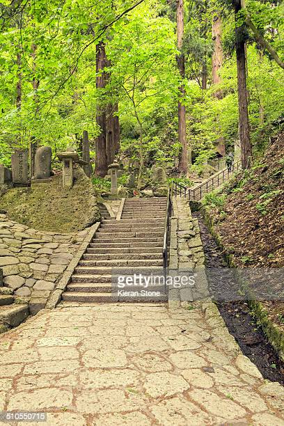 Hiking path that leads to the temple grounds of Yamadera, Yamagata City, Japan