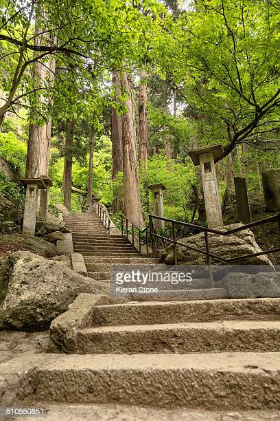 Hiking path that leads to the temple grounds of Yamadera Yamagata City Japan