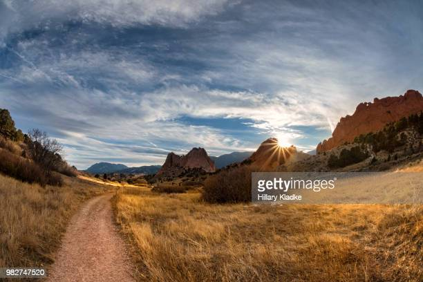 a hiking pathway in colorado - garden of the gods stock photos and pictures