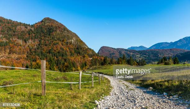 hiking rail in a countryside - slovenia stock pictures, royalty-free photos & images