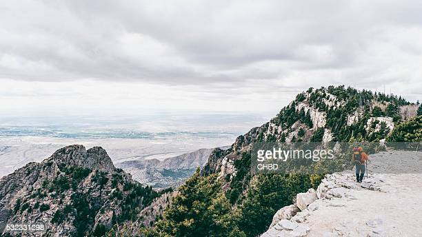 hiking sandia mountains in new mexico. - sandia mountains stock pictures, royalty-free photos & images