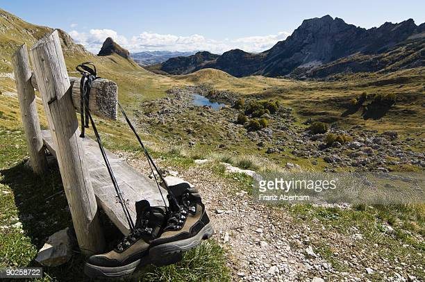 Hiking shoes on bench in Durmitor National Park