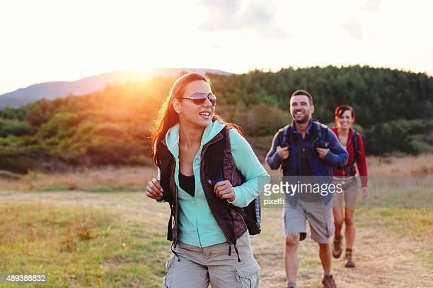 Hiking smiling people