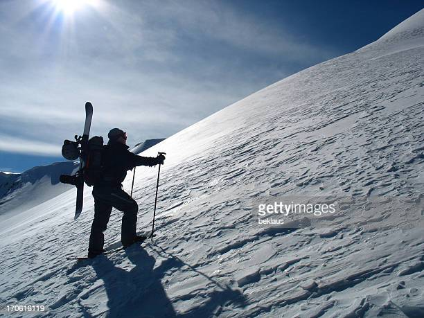 hiking snowboarder - telemark stock pictures, royalty-free photos & images