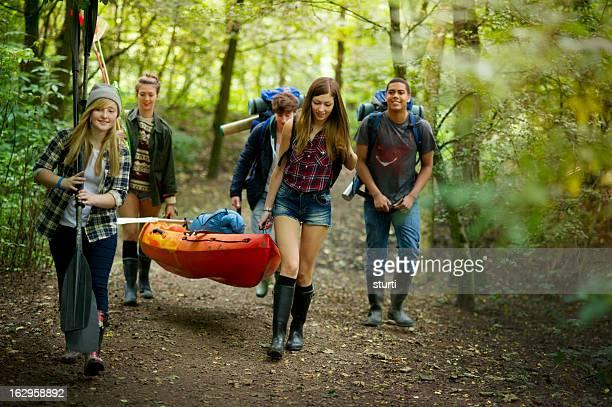 hiking teenagers