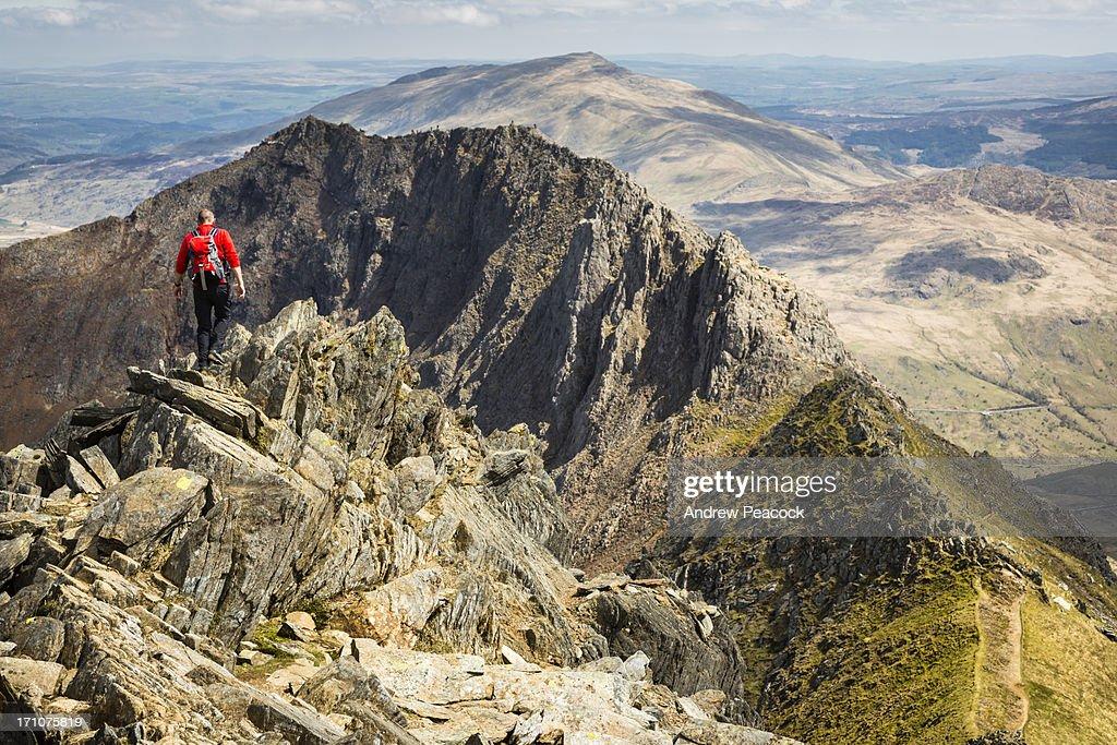 Hiking the Crib Goch trail on Mount Snowdon : Stock Photo