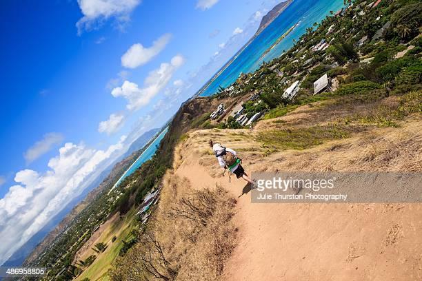 Hiking the Lanikai Pillbox Hike with Stunning Views Of the Blue and Teal Ocean and Kailua Oahu Hawaii