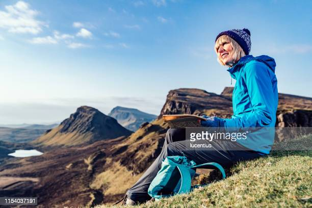 hiking the quiraing trail, isle of skye, scotland - scotland stock pictures, royalty-free photos & images