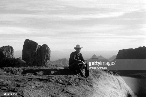 Hiking through Chisos Mountains in Big Bend National Park, Texas, USA, 1964.
