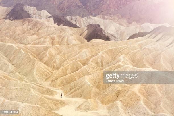 Hiking through desert landscape