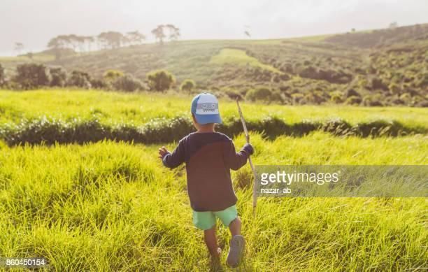Hiking through Grassy Pastures.