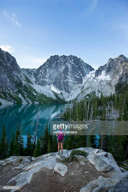 hiking through the cascade mountains. - leavenworth washington stock photos and pictures