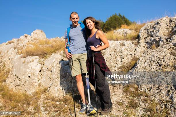 hiking time. inclusive recreation - assistive technology stock photos and pictures