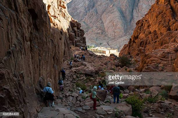 hiking to st. catherine's monastery via steps of penitence, sinai - mt sinai stock photos and pictures