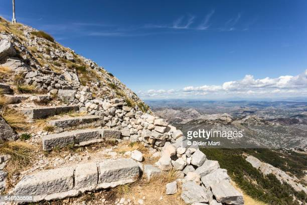 hiking trail in the lovcen national park in montenegro - southeast stock pictures, royalty-free photos & images