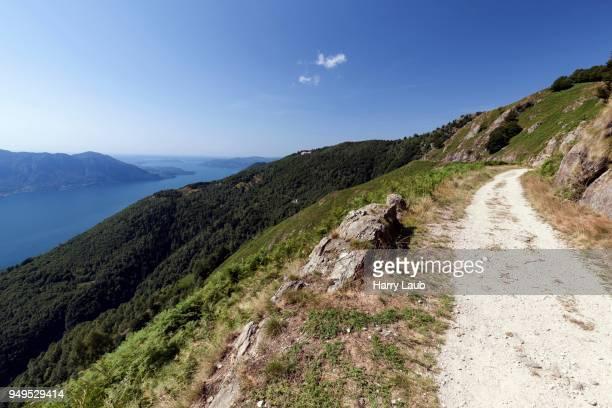 hiking trail to monte morissolo on lago maggiore, cannero riviera, verbano-cusio-ossola province, piedmont region, italy - province of verbano cusio ossola stock pictures, royalty-free photos & images