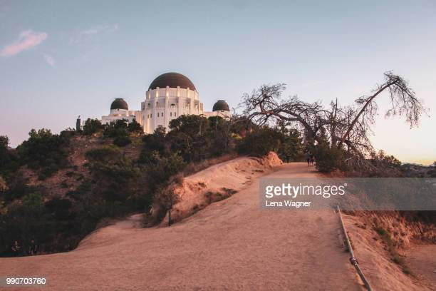 hiking trail toward griffith observatory - griffith park stock pictures, royalty-free photos & images