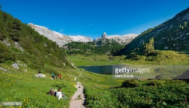 Hiking trail with Funenseesattel and Schottmalhorn, Steinernes Meer, Berchtesgaden National Park, Bavaria, Germany