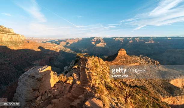 Hiking trail with staircases, South Kaibab Trail, descending from the South Rim, Grand Canyon National Park, Arizona, USA