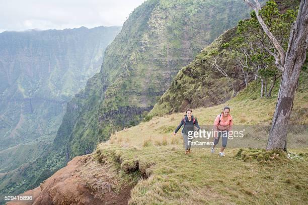 Hiking Up a Mountainside