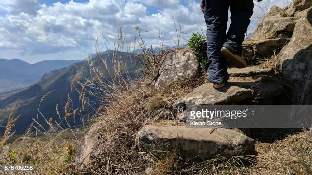 Hiking up Remote Mountain Landscape