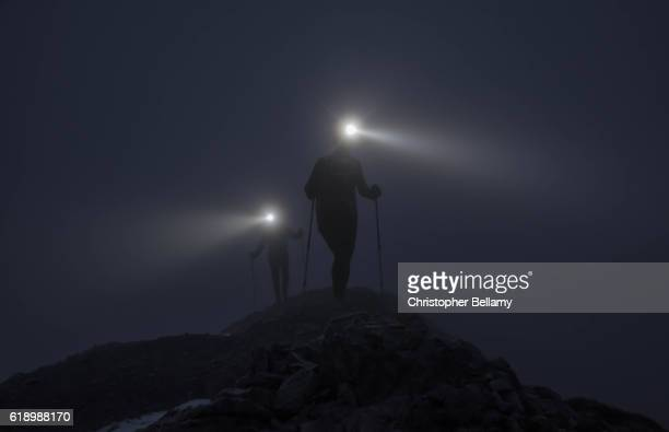 Hiking up ridge in darkness