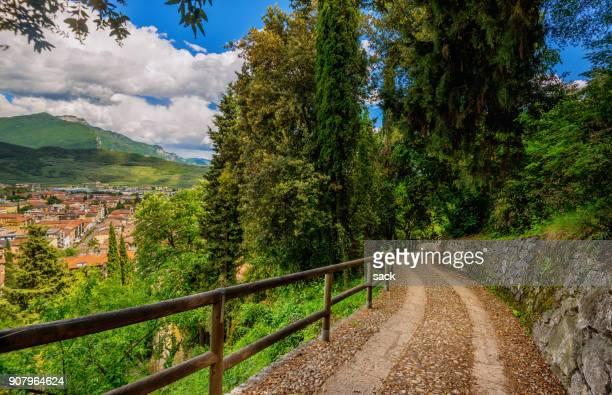hiking up the hills at riva del garda, lake garda - trento foto e immagini stock