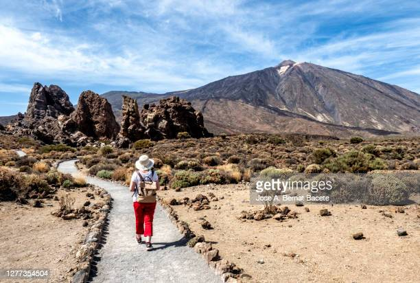 hiking woman walking through a volcanic mountain landscape in tenerife, canary islands. - el teide national park stock pictures, royalty-free photos & images