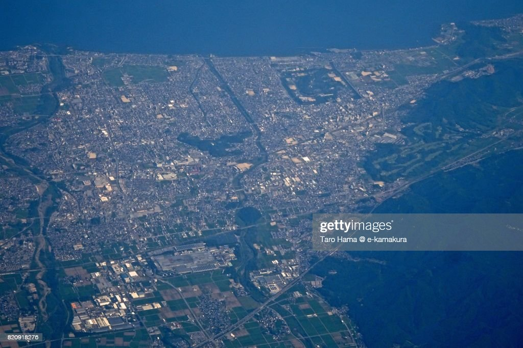 Hikone city in Shiga prefecture day time aerial view from airplane : ストックフォト