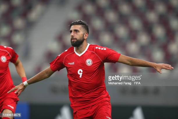 Hilal Alhelwe of Lebanon celebrates scoring a goal to make the score 1-0 during the FIFA Arab Cup 2021 Qualifying match between Lebanon and Djibouti...