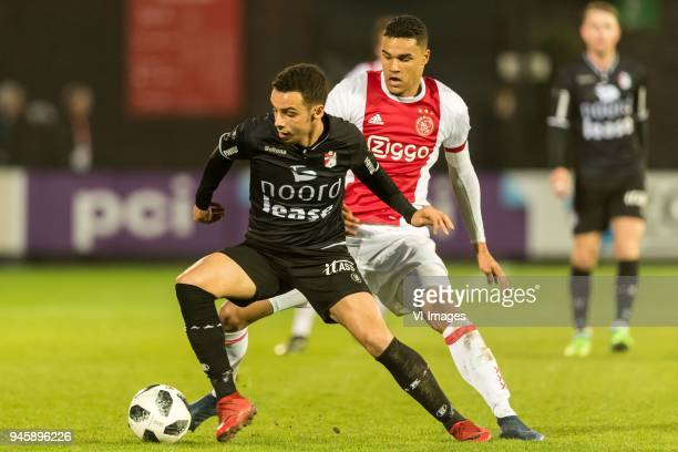 Hilal Ben Moussa of FC Emmen Danilho Doekhi of Jong Ajax during the Jupiler League match between jong Ajax Amsterdam and FC Emmen at De Toekomst on...